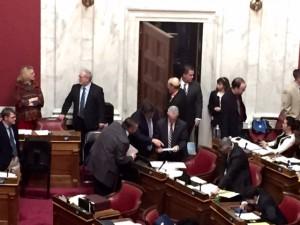 WV Coal Association lobbyists Chris Hamilton with Chairman Shott before SB 423 is taken up on the floor
