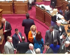 WV Sustainable Business Council head Jeni Burns and the Cookie Lobbyist, Lori Magana on the floor before SB 423 is taken up