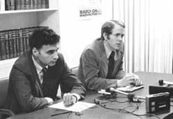 David Grubb with Ralph Nader at a WV-CAG press conference, cira 1970's